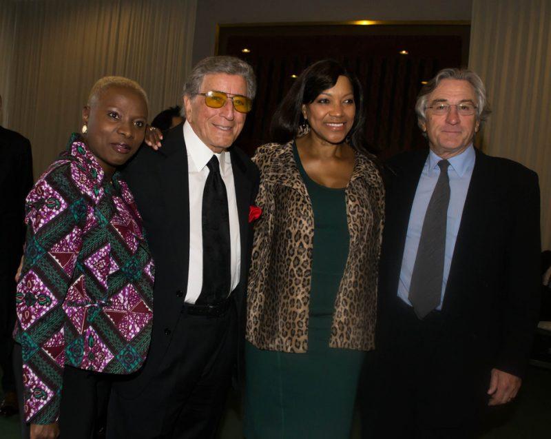 Angelique Kidjo, Tony Bennett, Robert De Niro's wife Grace, Robert De Niro, backstage at International Jazz Day, NYC, 4-12