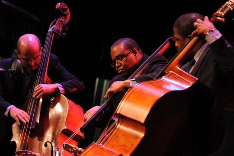 Bass-off at Savannah Music Festival, 2012 (L. to R.): Jeffry Eckels, Rodney Jordan, and Rodney Whitaker