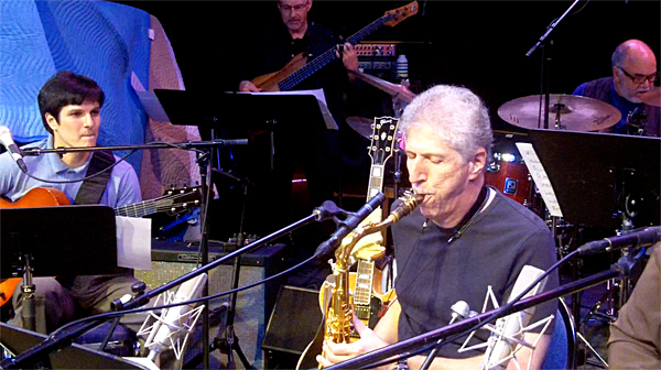 Chico Pinheiro and Bob Mintzer. Rear: Lincoln Goines and Peter Erskine