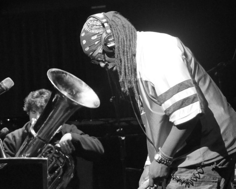 Marcus Rojas (left) and G. Calvin Weston perform at Le Poisson Rouge, NYC, as part of the 2012 Undead Music Festival