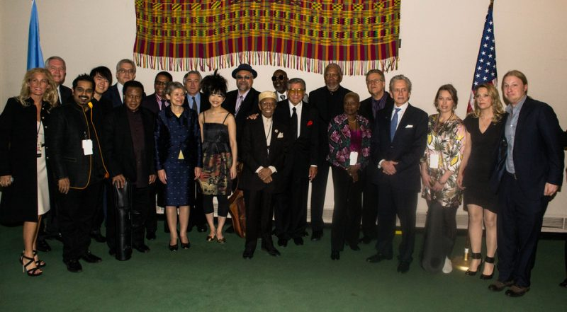 Musicians, hosts and UN dignitaries prior to International Jazz Day concert, UN, NYC, 4-12