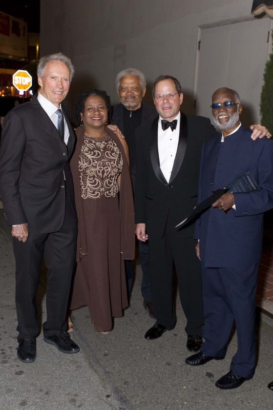 Clint Eastwood, Felice Swapp of SFJAZZ, SFJAZZ Poet Laureate Ishmael Reed, Randall Kline of SFJAZZ, Ahmad Jamal, SFJAZZ Spring Gala 2012