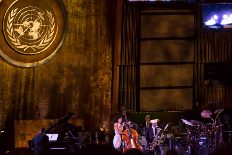 "Esperanza Spalding sings ""What a Wonderful World"" at International Jazz Day at the UN, NYC, 4-12"