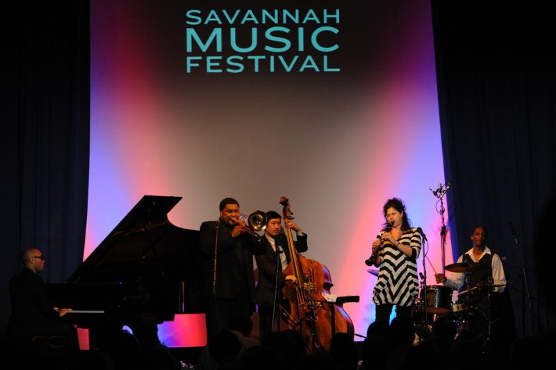 L. to R.: Aaron Diehl, Wycliffe Gordon, Yasushi Nakamura, Anat Cohen & Herlin Riley at the Savannah Music Festival, 2012