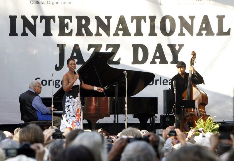 Ellis Marsalis, Stephanie Jordan and Roland Guerin (from left) celebrate International Jazz Day in New Orleans