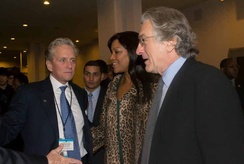 Michael Douglas, Robert De Niro and De Niro's wife Grace at International Jazz Day, NYC, 4-12