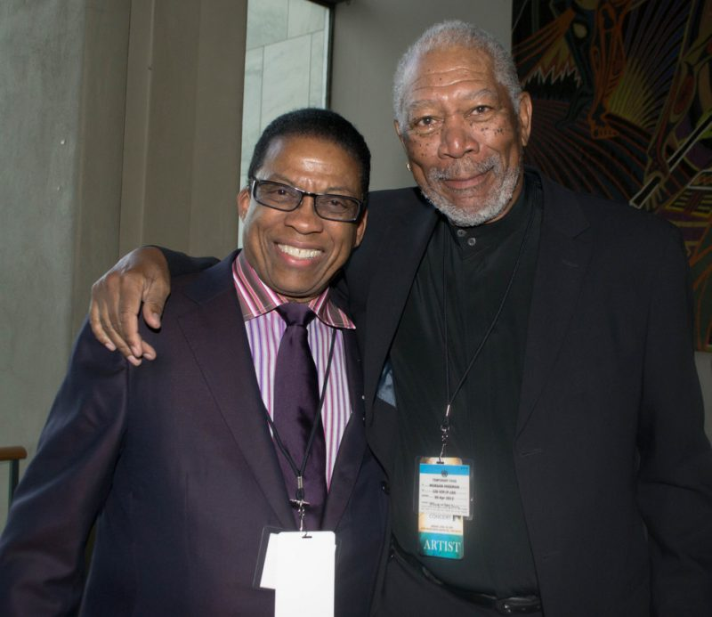 Herbie Hancock and Morgan Freeman backstage at the UN, International Jazz Day, NYC, 4-12