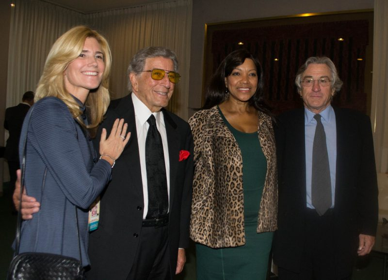 Tony Bennett, Robert De Niro and their wives, backstage at International Jazz Day, NYC, 4-12