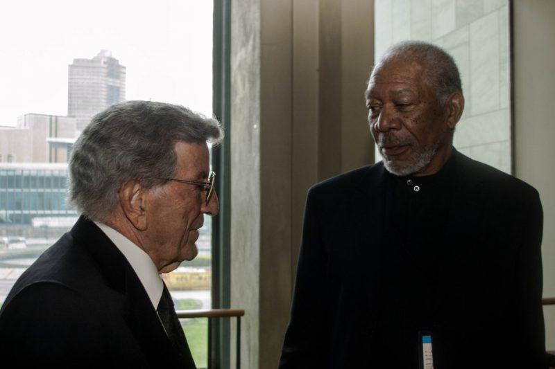 Tony Bennett and Morgan Freeman, backstage at International Jazz Day, NYC, 4-12