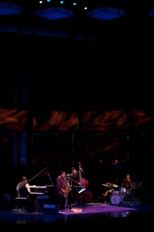 The Wayne Shorter Quartet at Jazz at Lincoln Center, April 2012: Danilo Pérez, Shorter, John Patitucci and Brian Blade (from left)