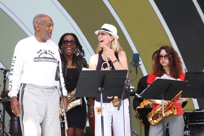 Left to Right: Bill Cosby, Tia Fuller, Ingrid Jensen, Erena Terakubo, Playboy Jazz Festival 2012