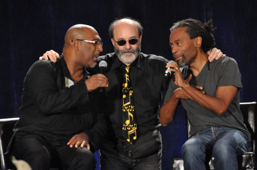 Vocalists Joey Blake, Bob Stoloff and Bobby McFerrin sharing the stage (photo: Phil Farnsworth)