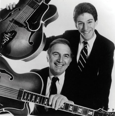 John )top) and father Bucky Pizzarelli, circa 1984