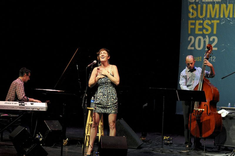 Sara Gazarek performing with Josh Nelson (piano) and Dave Robaire (bass) at the 2012 San Jose Summer Jazz Fest