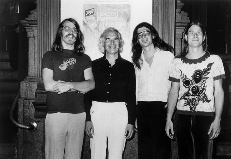 Things were pretty hairy back in the late '70s, evidenced by this post-concert portrait of the Brubeck family band. L to R: Chris, Dave, Darius and Dan Brubeck.