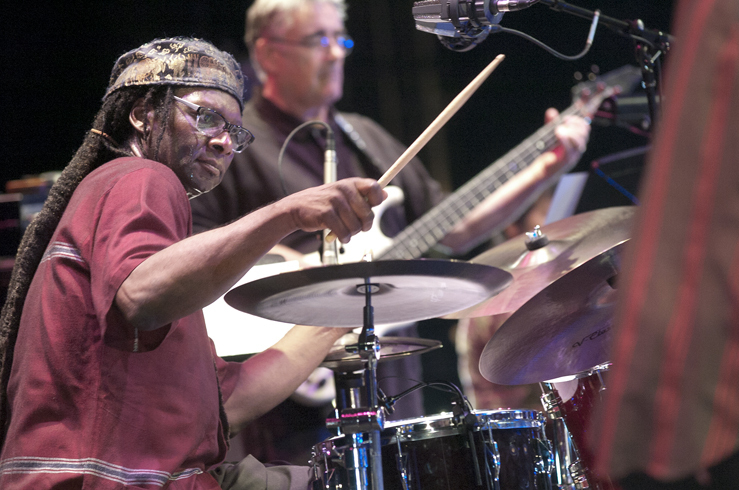 Hamid Drake and Fred Frith in performance at the 2012 Guelph Jazz Festival