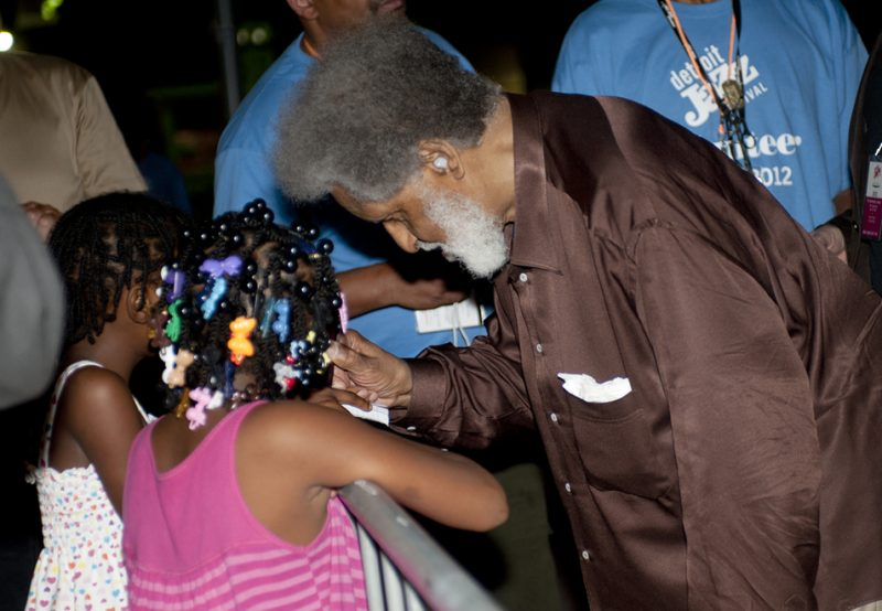 Sonny Rollins meeting young fans after performance at the 2012 Detroit Jazz Festival