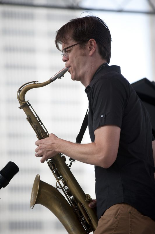 Donny McCaslin in performance with Geoffrey Keezer at 2012 Detroit Jazz Festival