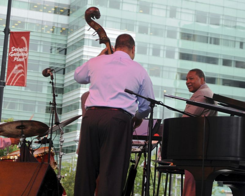 Bassist Carlos Henriquez and Wynton Marsalis during performance at the 2012 Detroit Jazz Festival