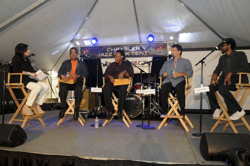 Renee Rosnes interviews members of the Wayne Shorter Quartet (Danilo Pérez, Wayne Shorter, John Patitucci and Brian Blade) in session at Talk Tent at 2012 Detroit Jazz Festival