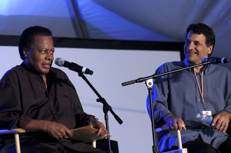 Wayne Shorter and John Patitucci in interview session at Talk Tent at 2012 Detroit Jazz Festival