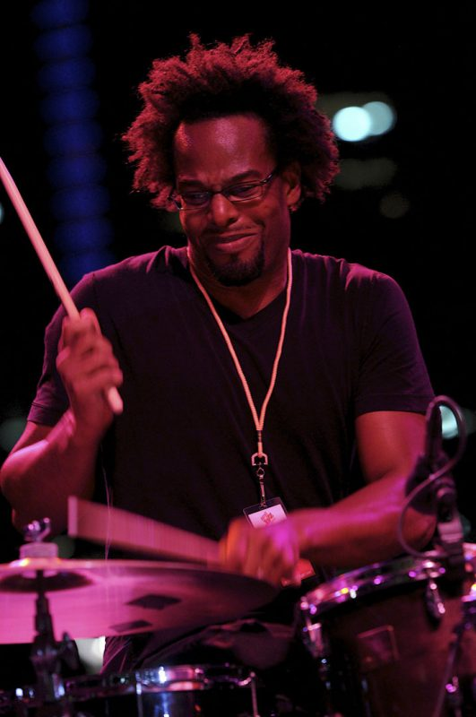 Drummer Kobie Watkins in performance with Sonny Rollins at the 2012 Detroit Jazz Festival