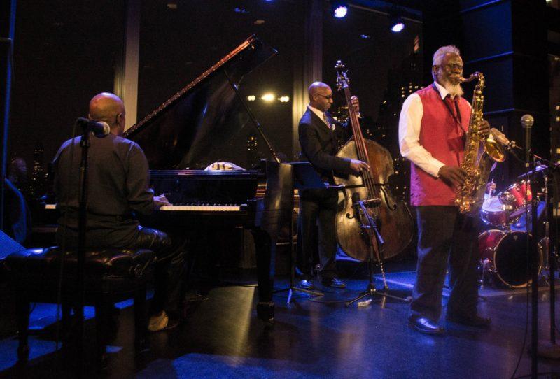 Pharoah Sanders Quartet (l. to r.: William Henderson, Nat Reeves, Pharoah Sanders, Joe Farnsworth), Dizzy's, NYC, 9-12