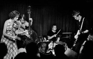 Jenny Scheinman (left) with her Mischief & Mayhem Band