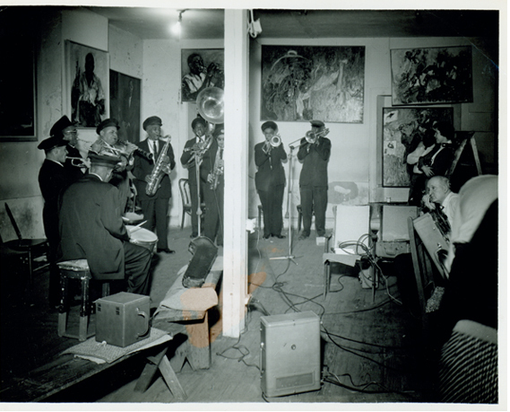 "Preservation Hall jazz Band: An early recording session at 726 St. Peter with Harold ""Duke"" Dejan (Alto Saxophone) performing with his band, Dejan's Olympia Brass Band."