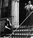 Phil Schaap and Milt Jackson on staircase to Charlie Parker's former NYC home, photo courtesy Phil Schaap