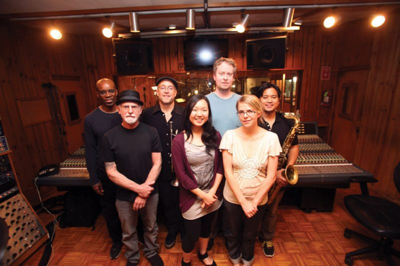 Dave Douglas and company at NYC's Avatat Studios for the 'Be Still' sessions, April 2012. L. to r.: Rudy Royston, Joe Ferla, Dave Douglas, Linda Oh, Matt Mitchell, Aoife O'Donovan and Jon Irabagon