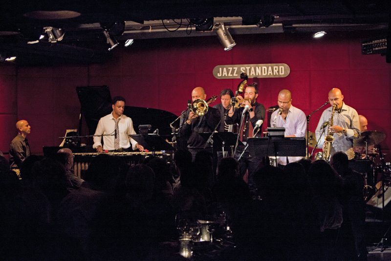 The SFJAZZ Collective performs at Jazz Standard in New York City, October 2012. From left: Edward Simon, Stefon Harris, Robin Eubanks, Matt Penman, Avishai Cohen, David Sánchez, Miguel Zenón and Jeff Ballard.