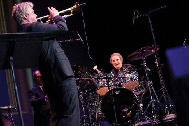 Madeleine Albright on drums, sitting in with Chris Botti, at the 2012 Monk Institute International Jazz Competition