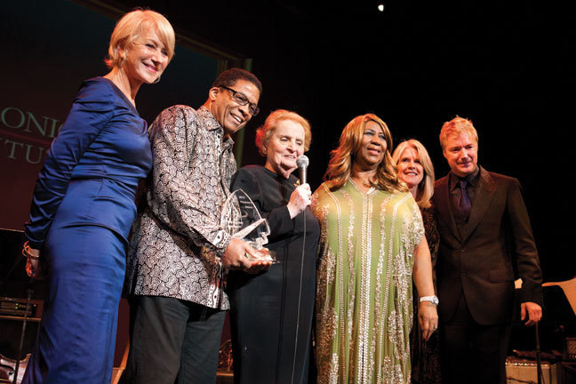 Helen Mirren, Herbie Hancock, 2012 Monk Institute Maria Fisher Founder's award recipient Madeleine Albright, Aretha Franklin, Tipper Gore & Chris Botti at the 2012 Thelonious Monk International Jazz Competition