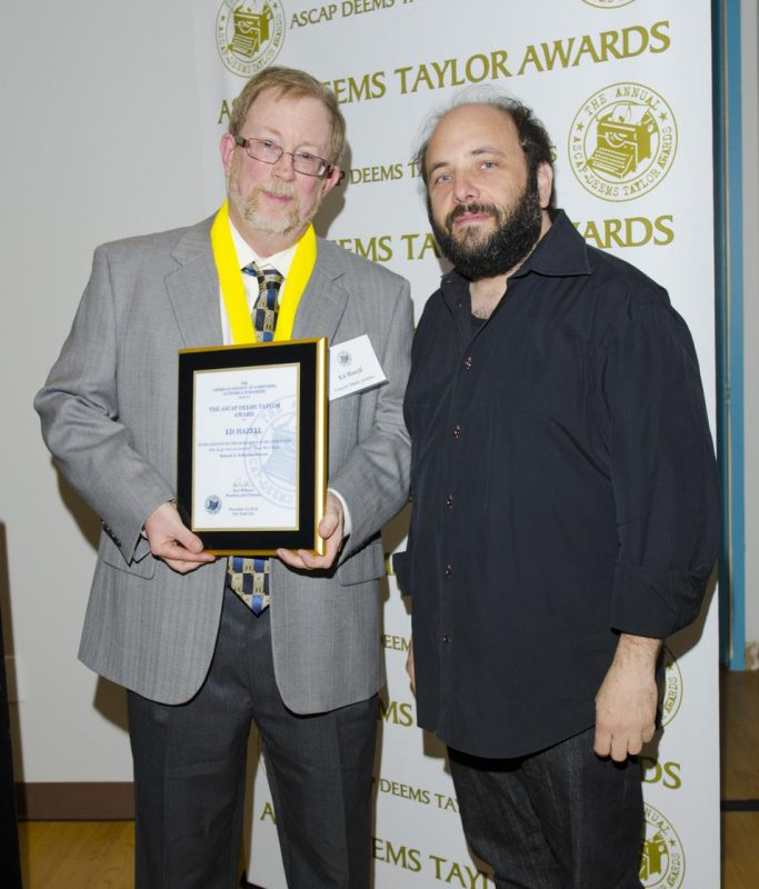 Writer Ed Hazell with award panelist Daniel Felsenfeld at ASCAP Deems Taylor Awards on November 14, 2012 in New York City. Hazell won the award for his liner notes for a Billy Bang CD set.