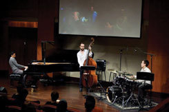 Pianist Vijay Iyer, accompanied by MSM students, gives a distance-learning master class in 2011