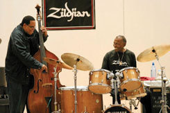 Bassist John Benitez and Elvin Jones at the latter's master class in 2003. Photo courtesy of the Manhattan School of Music