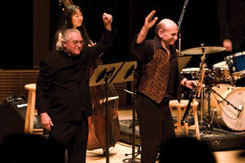 Justin DeCioccio and Dave Liebman at NYC's Zankel Hall in 2008, during a concert that featured the MSM Jazz Orchestra (bassist Linda Oh is at back)