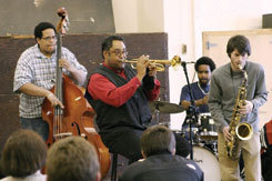Trumpeter Jon Faddis leads a master class in 2004. Photo courtesy of MSM