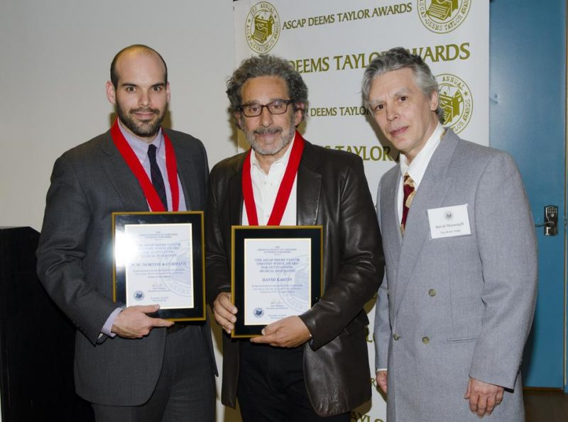WW Norton editor Tom Mayer, author David Kastin and musician David Massengill at ASCAP Deems Taylor Awards on November 14, 2012  in New York City. Kastin won the award for his book on the jazz baroness.