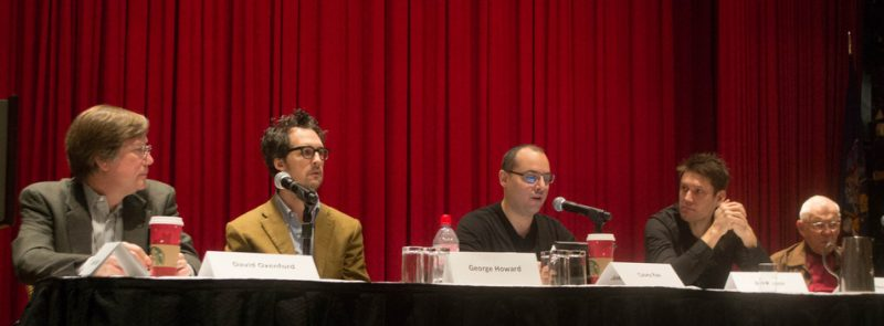 The Music Streaming Rights and Issues panel at the Jazz Connect Conference, Jan. 2013 at the Hilton New York, featured (l. to r.) David Oxenford, George Howard, Casey Rae, Ben Allison and Alan Bergman