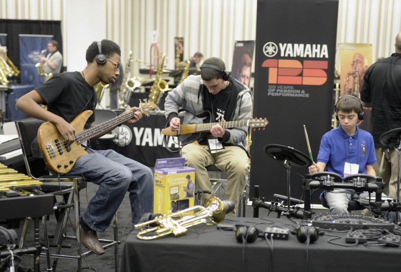A Yamaha exhibit at the 2013 Jazz Education Network Conference