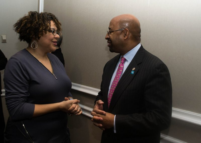 Melissa Walker of Jazz House Kids chats with Philadelphia Mayor Michael Nutter at the 2013 Jazz Connect Conference in New York City