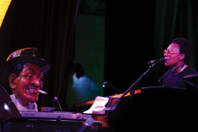 Meshell Ndegeocello and Jason Moran (in mask) at Harlem Stage, May 2011. Photo courtesy of Harlem Stage