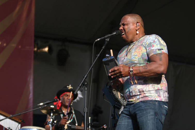 Aaron Neville (with younger brother Cyril) at New Orleans jazz Fest, 2008