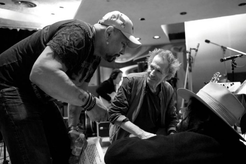 Aaron Neville, Keith Richards and Don Was at Electric Lady Studios in March 2012