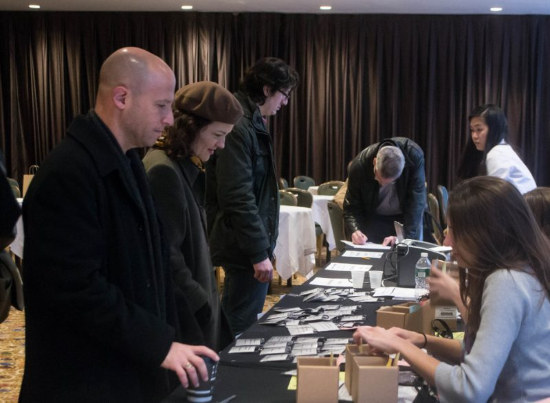 New arrivals register for the Jazz Connect Conference, Jan. 2013, Hilton New York