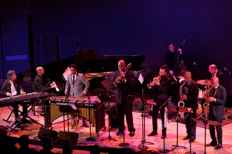 The SFJAZZ Collective: Guest Chick Corea (far left) with, l. to. r., Edward Simon, Stefon Harris, Robin Eubanks, Avishai Cohen, Matt Penman, David Sánchez, Jeff Ballard and Miguel Zenón, SFJAZZ Center, San Francisco, 1-13