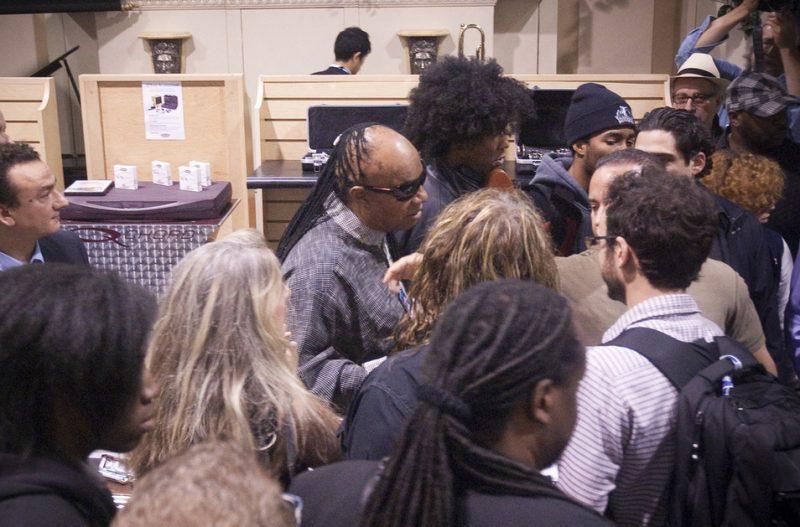 Stevie Wonder greets fans at Winter NAMM 2013