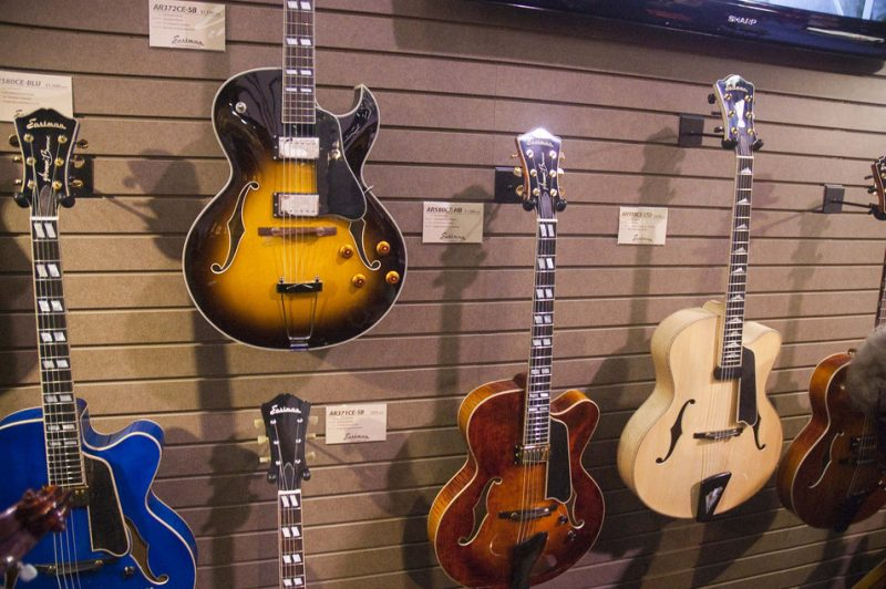Eastman hollowbody guitars on display, Winter NAMM 2013